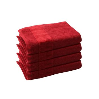 Set of 4: Red Hand Towels