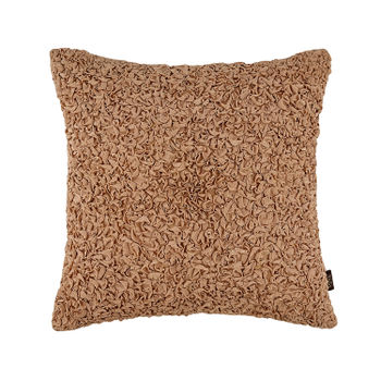 Gold Ruched Square Cushion Cover