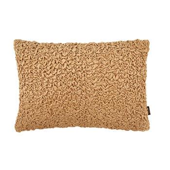 Gold Smocked Velvet Cushion Cover