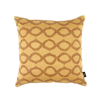 Beaded Golden Diamond Pattern Cushion Cover