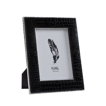 Large Black and Silver Croco Photo Frame