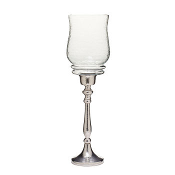 Large Clear Glass Nickel Finish Hazel Hurricane Candle Holder