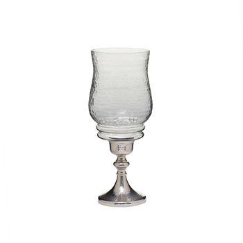 Medium Clear Glass Nickel Finish Hazel Hurricane Candle Holder