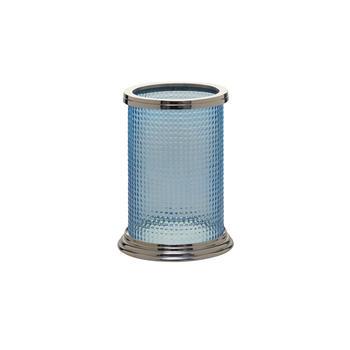 Blue Glass Cylindrical Hurricane Candle Holder