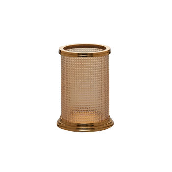 Golden Glass Cylindrical Hurricane Candle Holder