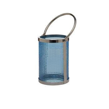 Blue Glass Cylindrical Lantern