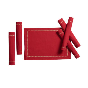 Set of 6: Red Tablemat with Embroidered Hem