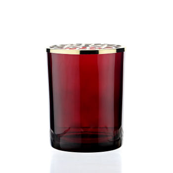 Red Glass Votive With Decorative Lid