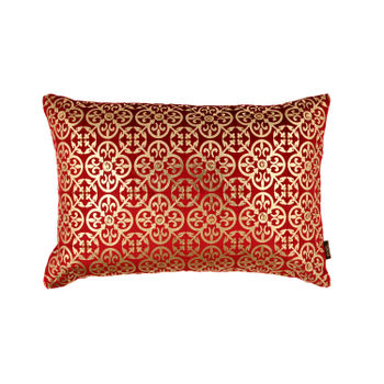 Red Foil Printed Lattice Cushion Cover