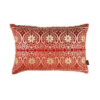 Red Printed Leaf Design Cushion