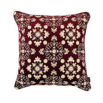 Purple and Gold Floral Embroidered Cushion Cover