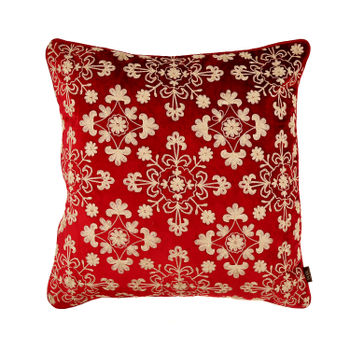 Red and Gold Floral Embroidered Cushion Cover