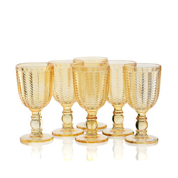 Set of 6 Amber Chevron Glass Goblet