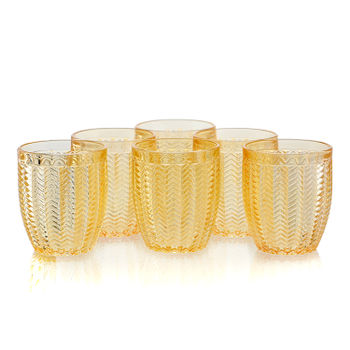 Set of 6 Amber Chevron Glass Tumbler