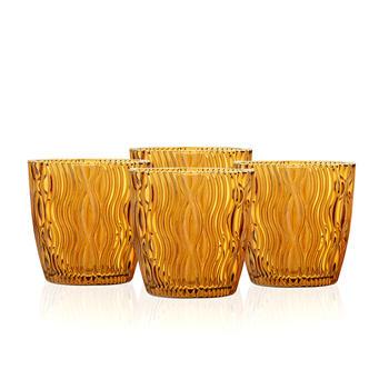 Set of 4 Amber Wavy Textured Votive