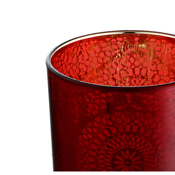 Set of 4 Small Red Floral Pattern Votive Holder