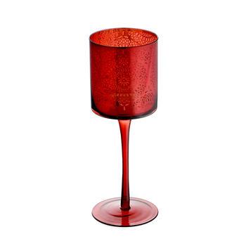 Large Red Floral Pattern Stemmed Candle Holder