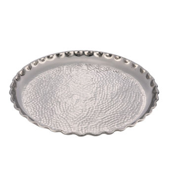 Large Silver Hammered Decorative Plate