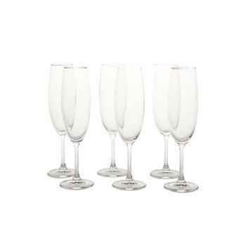 Set of 6: Clear Sylvia Flute Glass