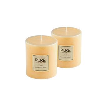 Set of 2 Small Ivory Vanilla Pillar Candle