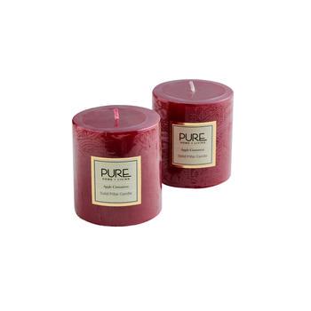 Set of 2 Small Red Apple Cinnamon Pillar Candle