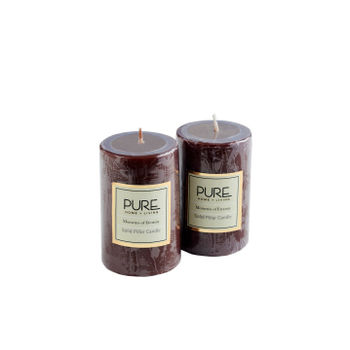 Set of 2 Short Brown Moments of Eternity Pillar Candle