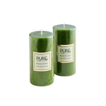 Set of 2 Tall Green Mandarin Cranberries Pillar Candle