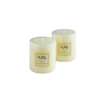 Set of 2 Small White Antique Lace Pillar Candle