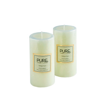 Set of 2 Tall White Antique Lace Pillar Candle