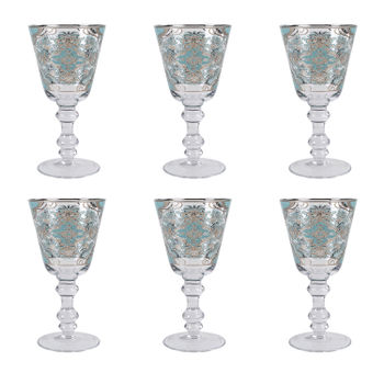 Set of 6: Blue Moroccan Floral Wine Glass