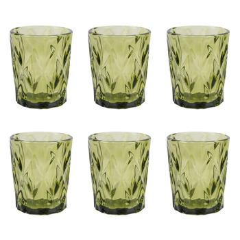 Set of 6: Green Elegant Glass Tumbler