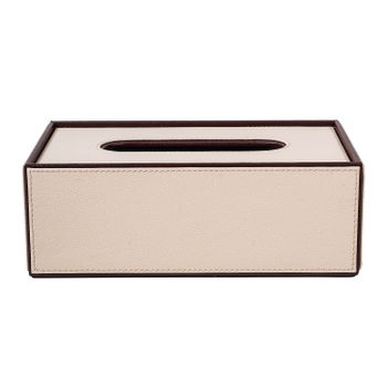 Cream Brown Tissue Box