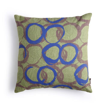 Bent Blue and Green Cushion Cover