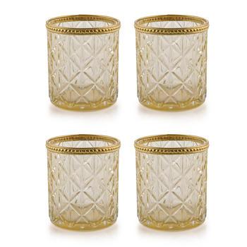 Set of 4 Gold Glass Votive