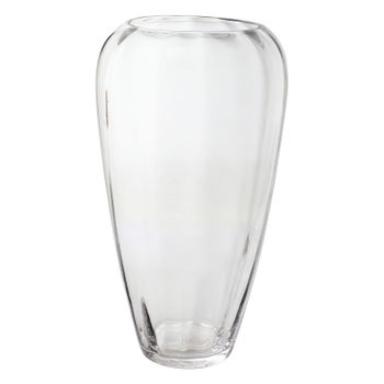 Large Clear Curvy Glass Vase