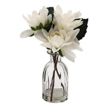White Peony In Glass Vase