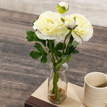Cream Camillia In Glass Vase