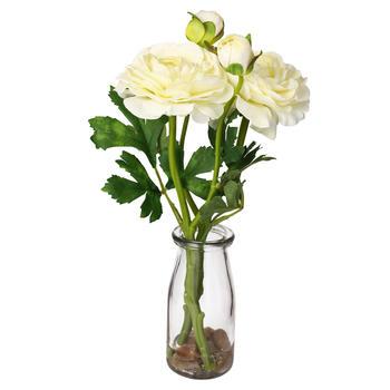 Cream Camillia In Glass Vase