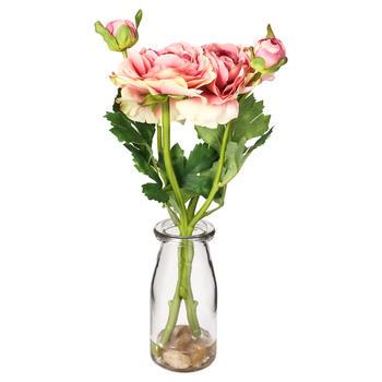 Magenta Camillia In Glass Vase