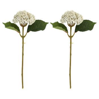 Set Of 2: Blooming White Hydrangea Stem