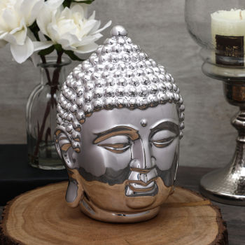 Medium Silver Buddha Head