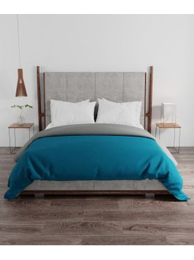 Stellar Home Blockbuster Collection - Ocean Blue & Metal Grey Double Size Comforter (Super Soft Micro Fabric, Queen Size, Reversible)