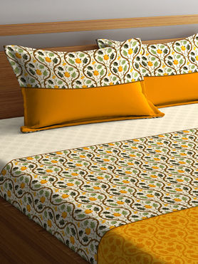 Stellar Home Iris Collection - Floral Leaf & Branch Print Bedsheet With 2 Pillow Covers (100% Cotton, Queen Size)