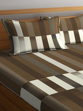 Stellar Home Iris Collection - Elegant Multi-Coloured Striped Bedsheet With 2 Pillow Covers (100% Cotton, Queen Size)