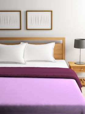 Stellar Home Blockbuster Collection - Solid Sweet Lilac & Rose Wine Reversible Queen Size Comforter (Super Soft Micro)