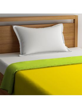 Stellar Home Blockbuster Collection - Green Glow & Lemon Yellow Reversible Single Size Comforter (Super Soft Micro)