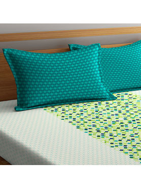 Stellar Home Lilly Collection - Shades of Green Nature-Based Geometric Print Bedsheet With 1 Pillow Cover (100% Cotton, Single Size)