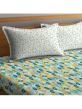 Stellar Home Lilly Collection - Multi-Coloured Diamond Print Geometric Bedsheet With 1 Pillow Cover (100% Cotton, Single Size)