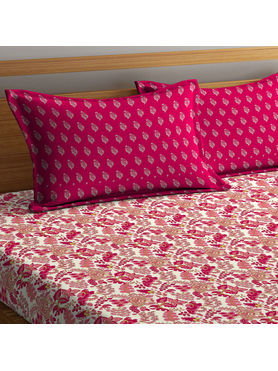 Stellar Home Lilly Collection - Rose Red Floral Print Bedsheet With 1 Pillow Cover (100% Cotton, Single Size)