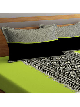Stellar Home Lilly Collection - Black, White & Lime Green Abstract Geometric Pattern Bedsheet With 1 Pillow Cover (100% Cotton, Single Size)
